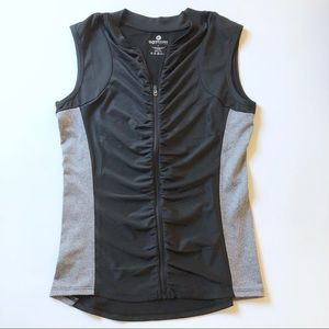 90 degree ruched zip up sleeveless active workout